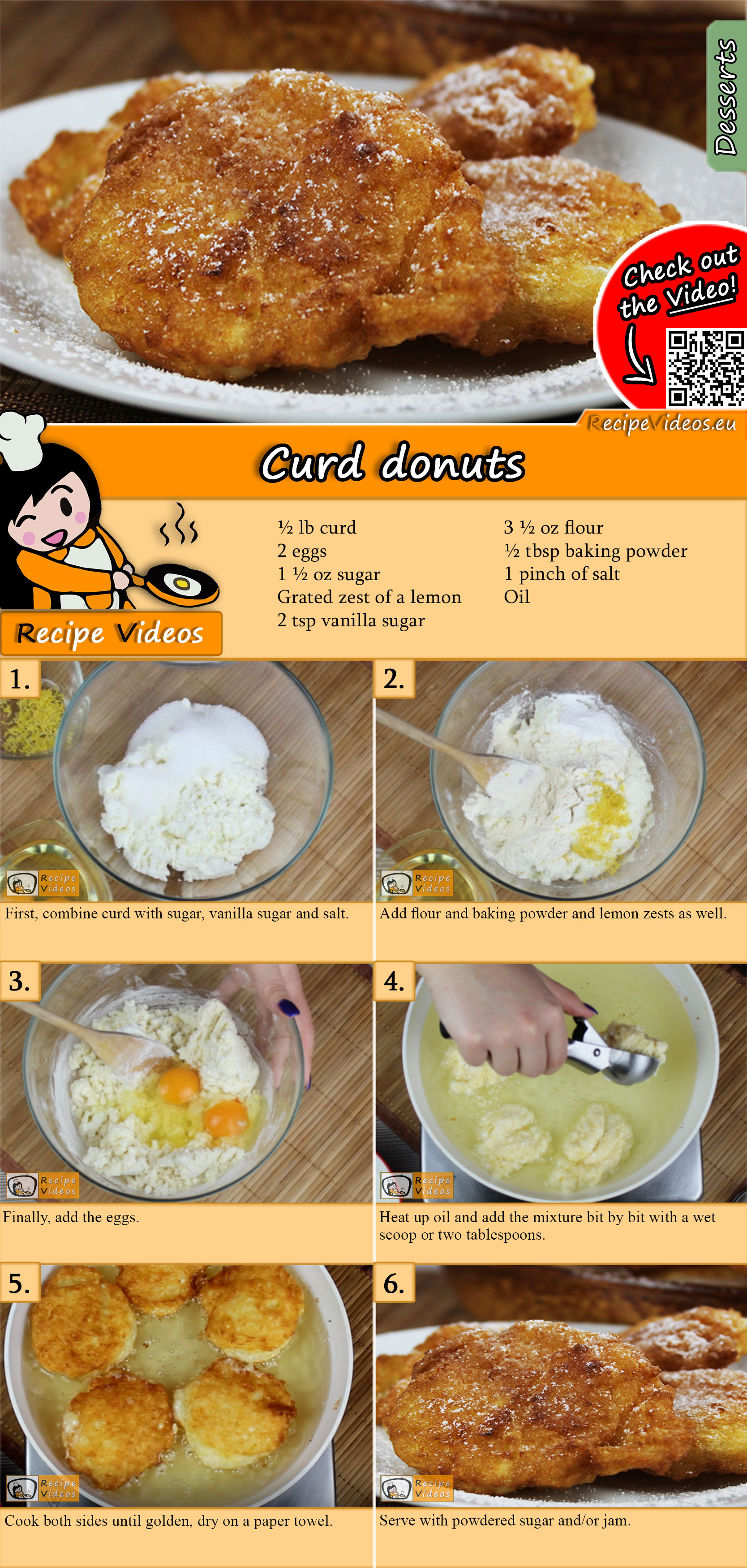 Curd donuts recipe with video