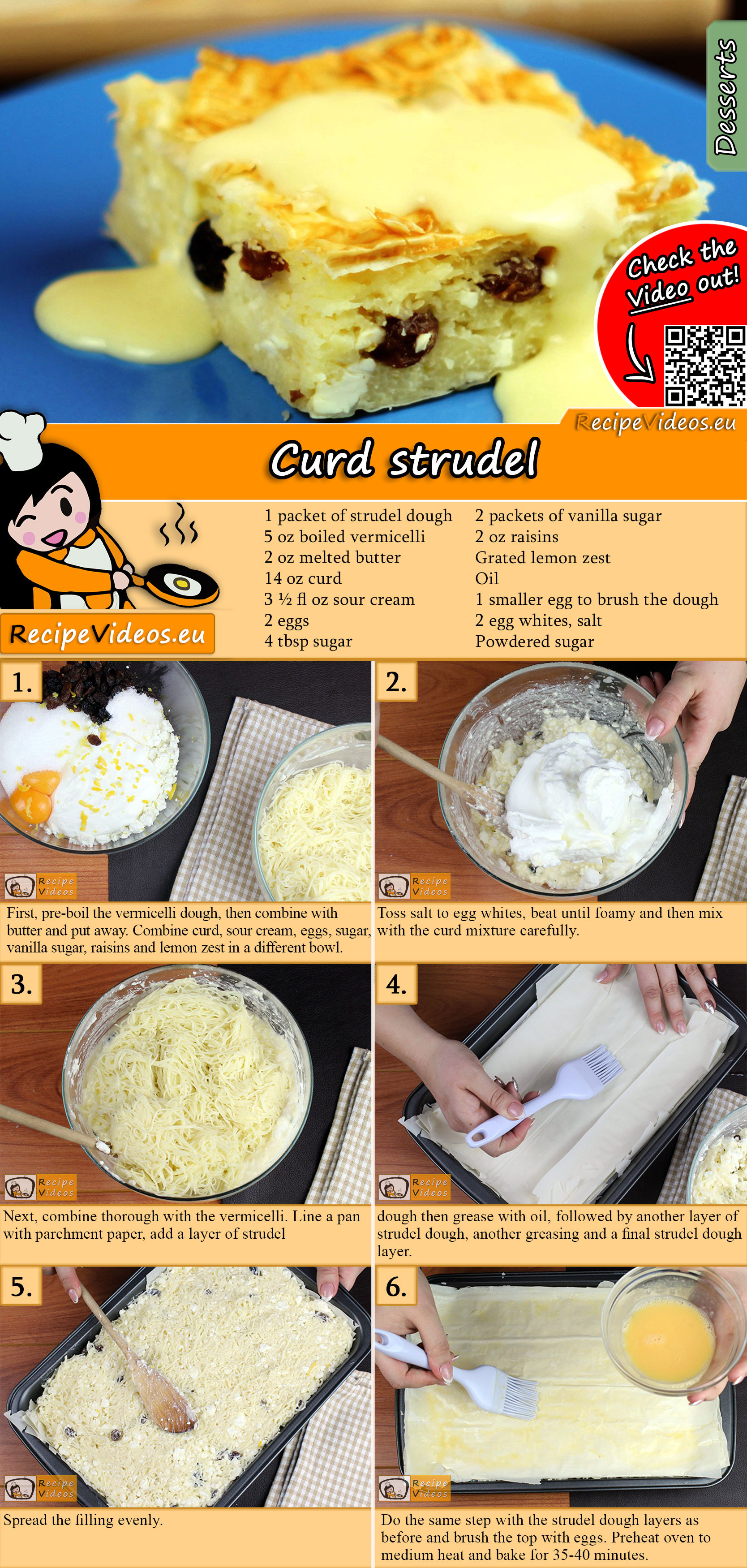 Curd strudel recipe with video