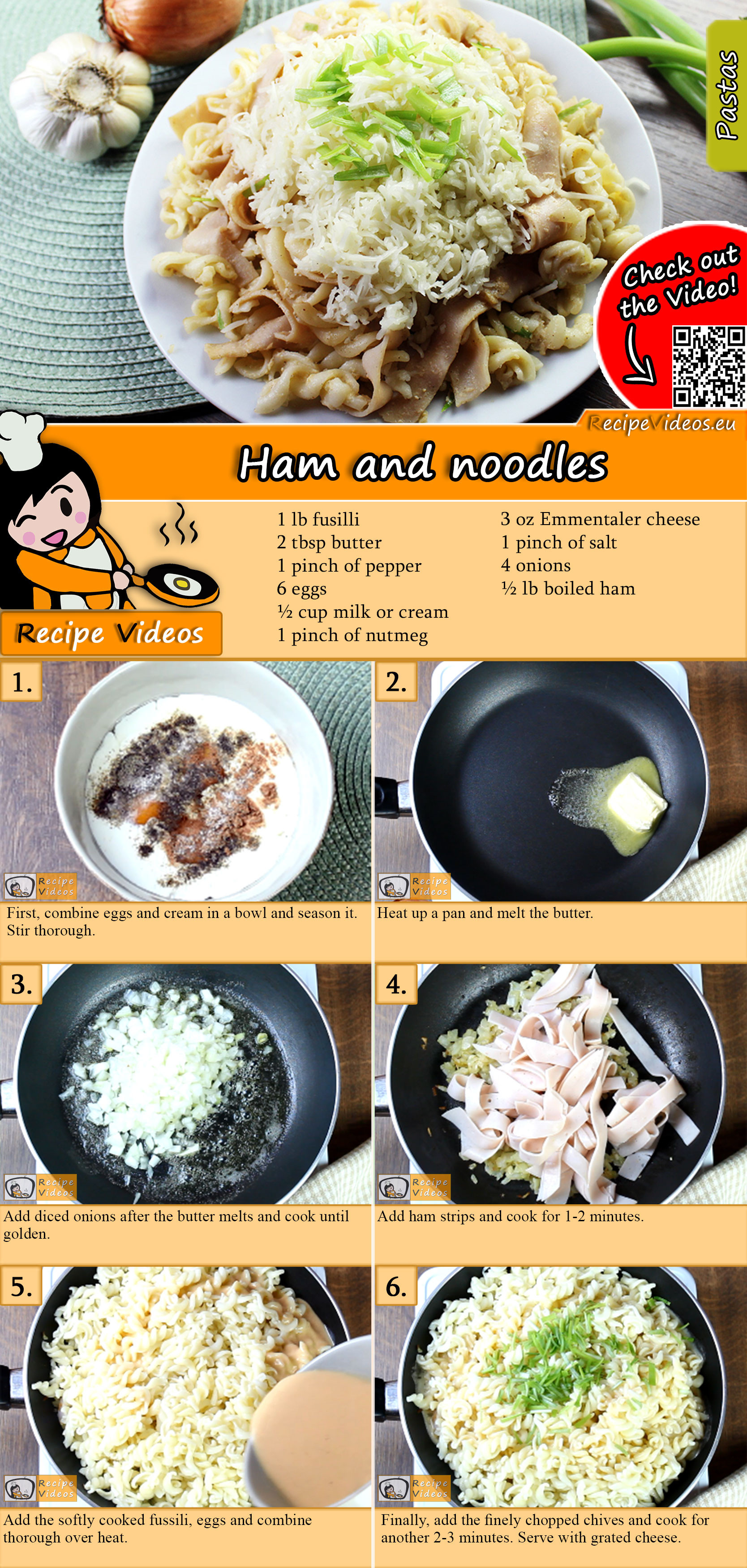 Easy ham and noodles recipe with video