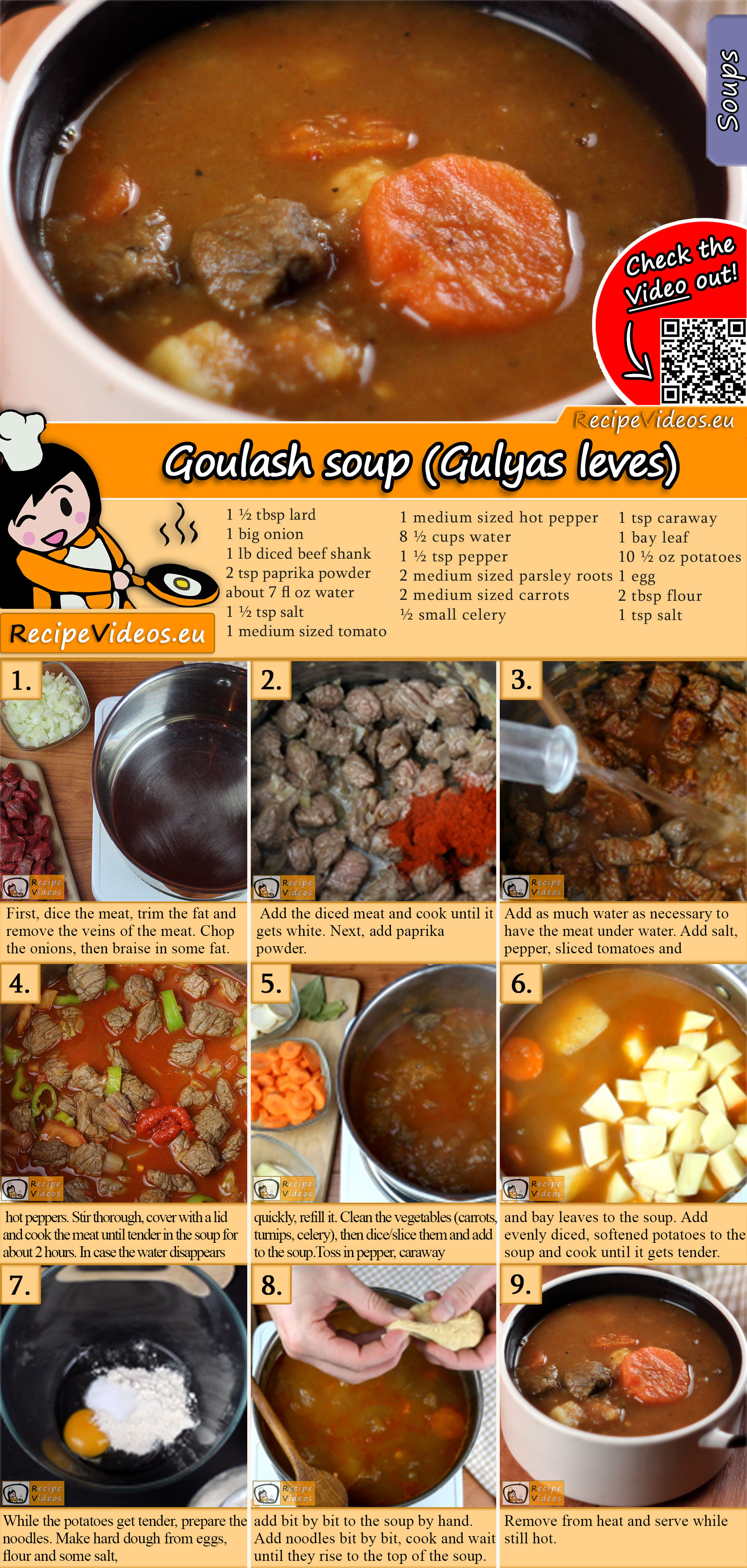 Goulash soup (Gulyas leves) recipe with video