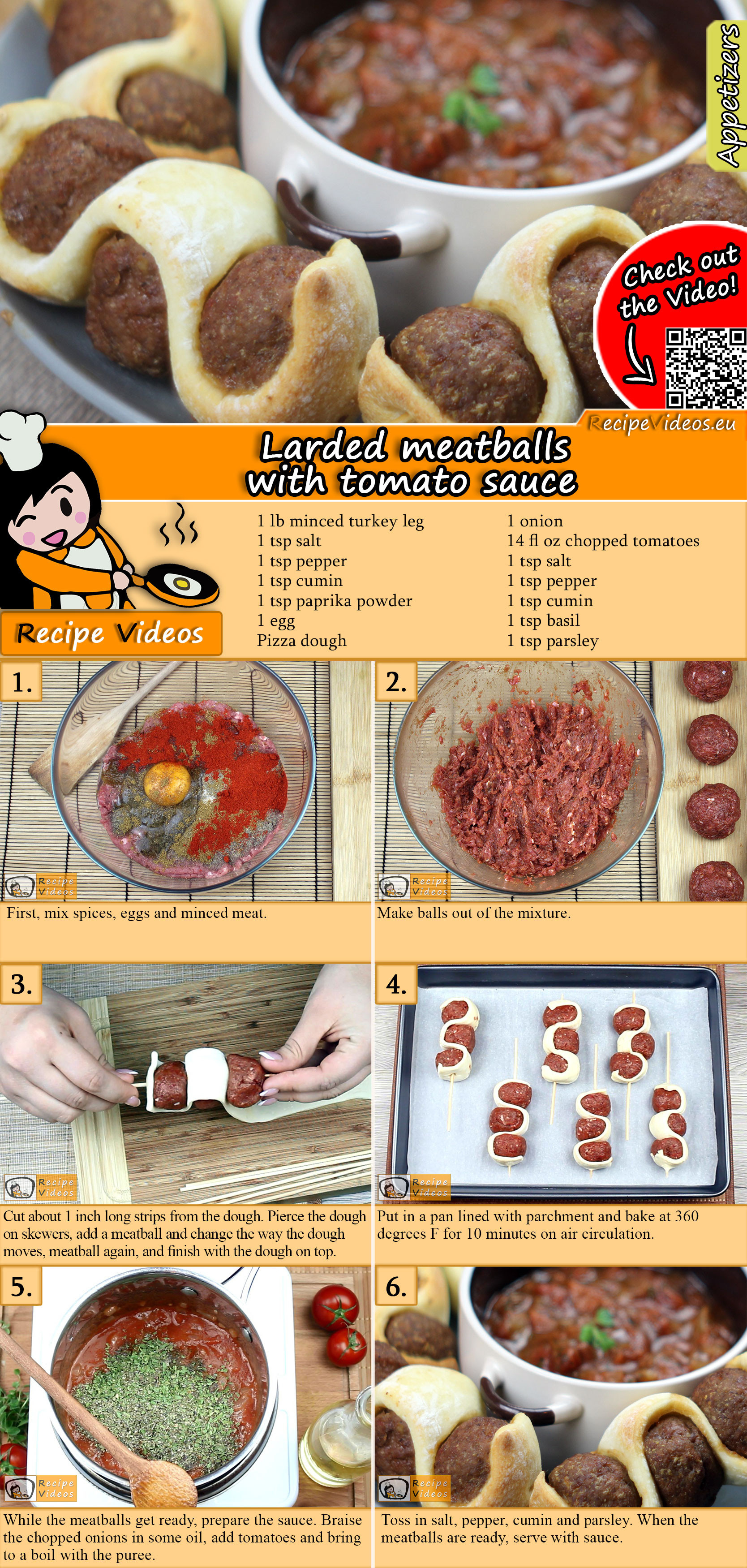 Larded meatballs with tomato sauce recipe with video