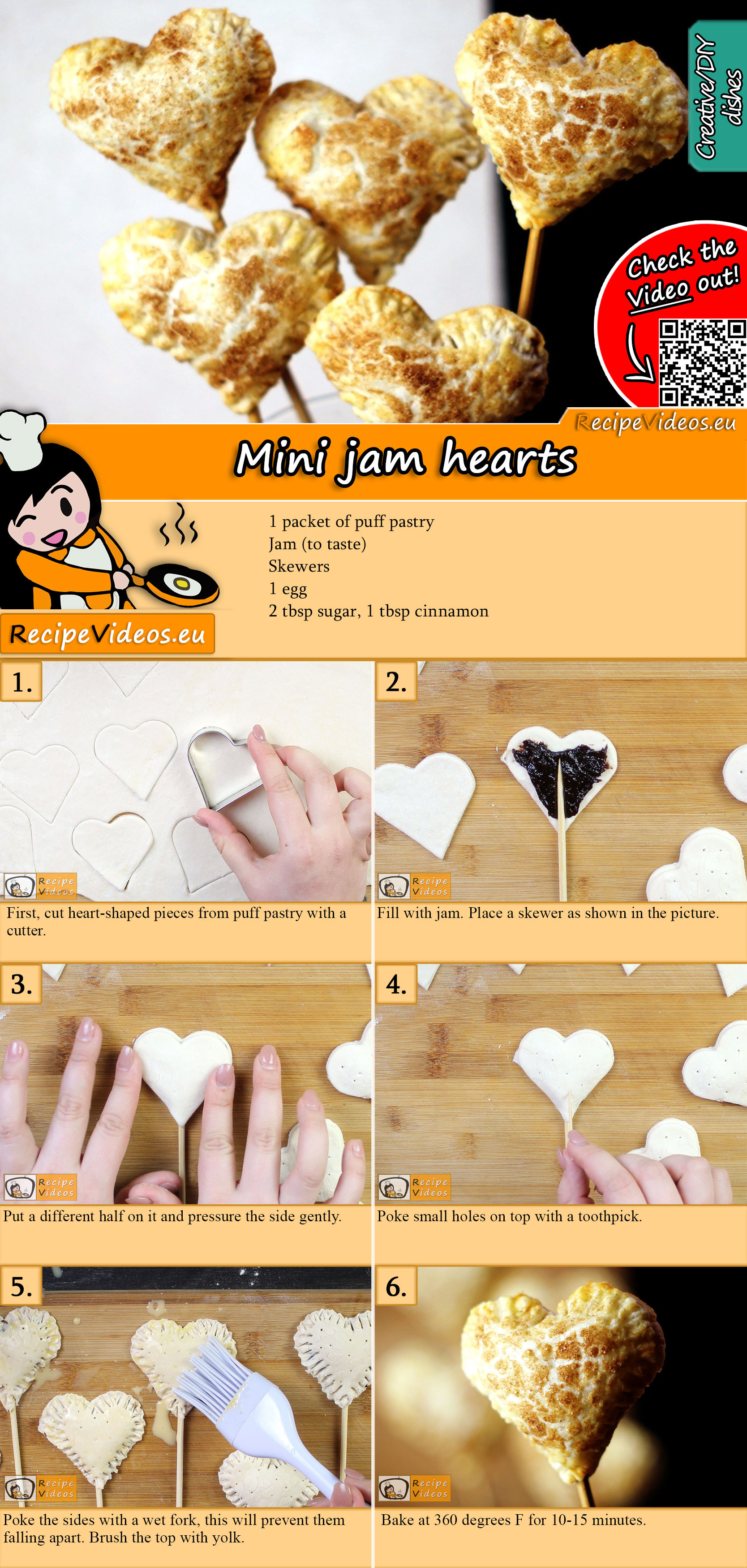 Mini jam hearts recipe with video