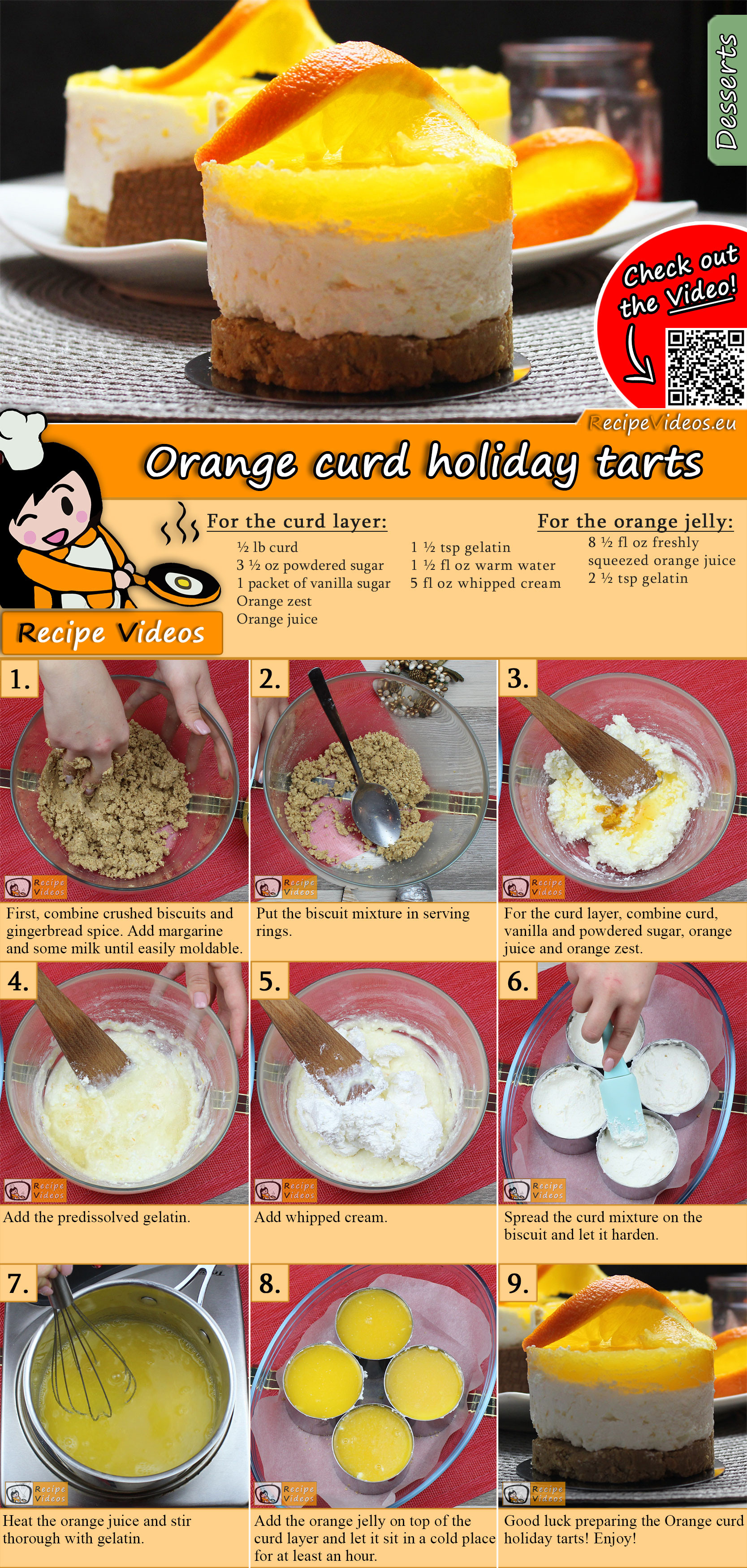 Orange curd holiday tarts recipe with video