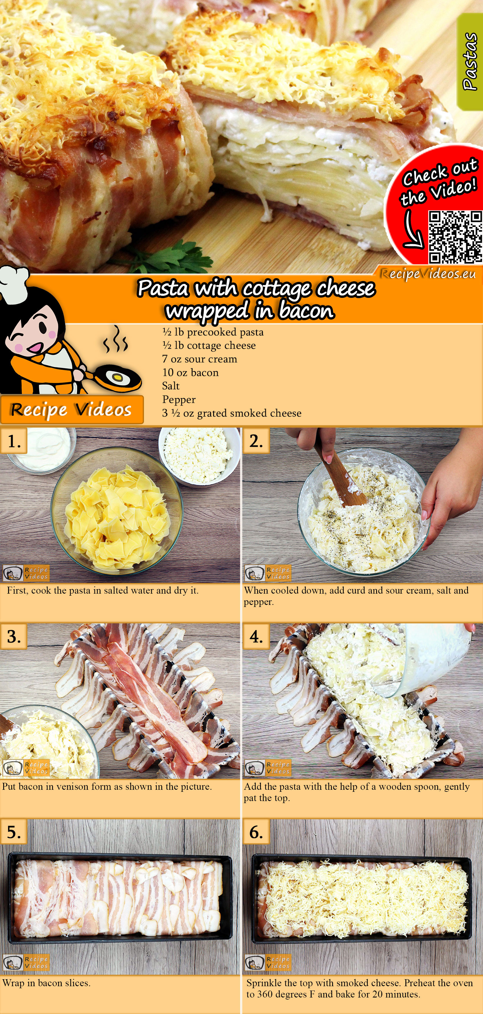 Pasta with cottage cheese wrapped in bacon recipe with video