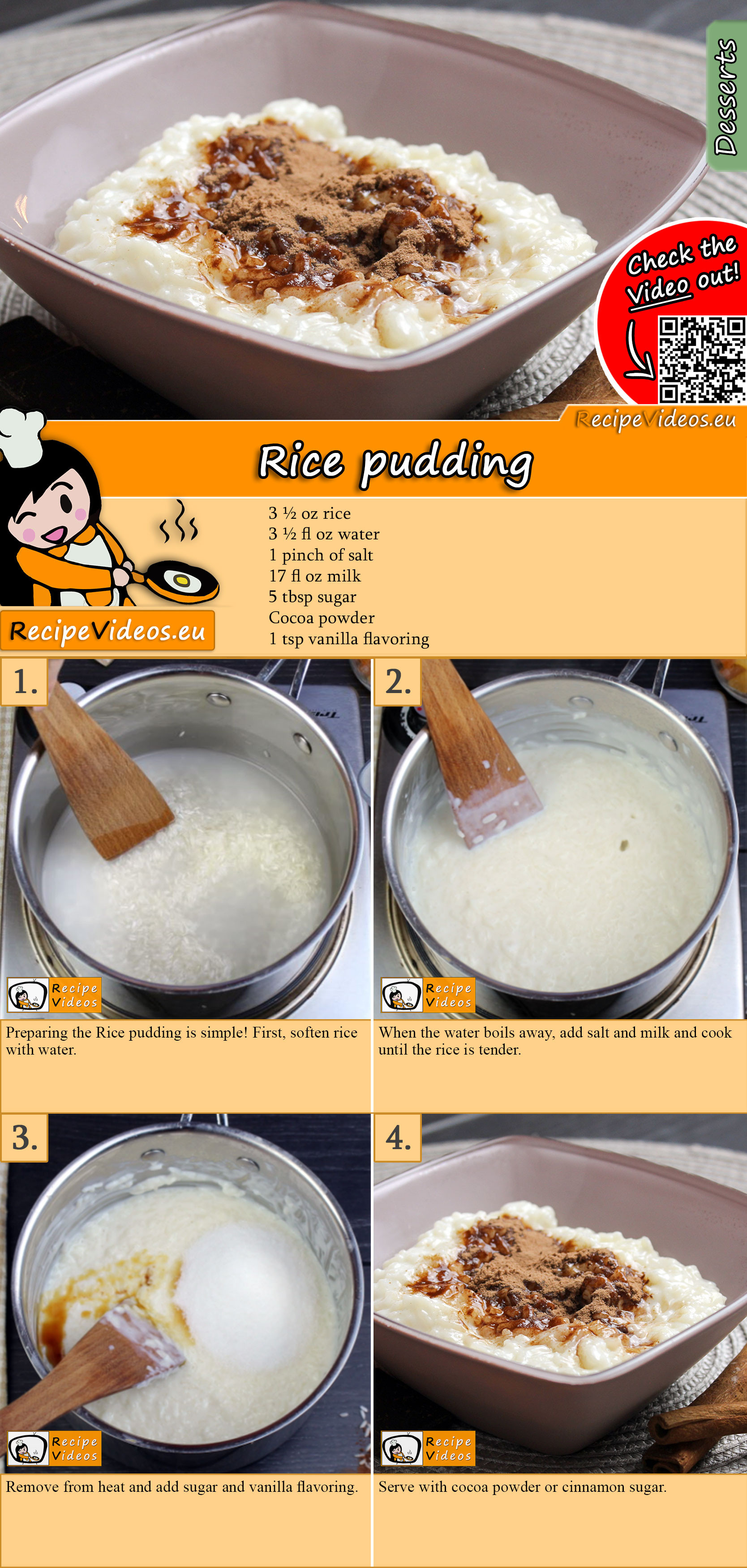 Rice pudding recipe with video