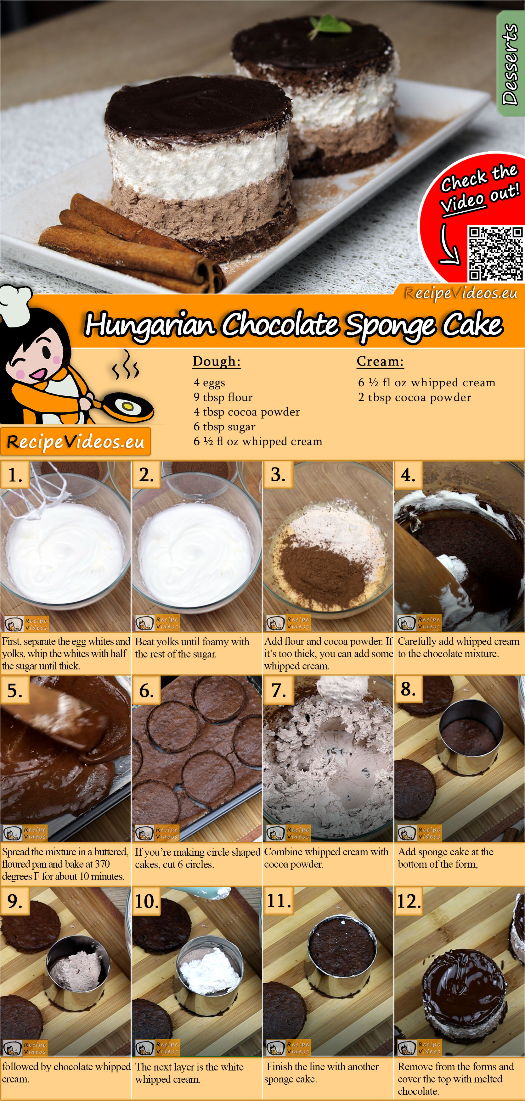 Rigó Jancsi – Hungarian Chocolate Sponge Cake recipe with video