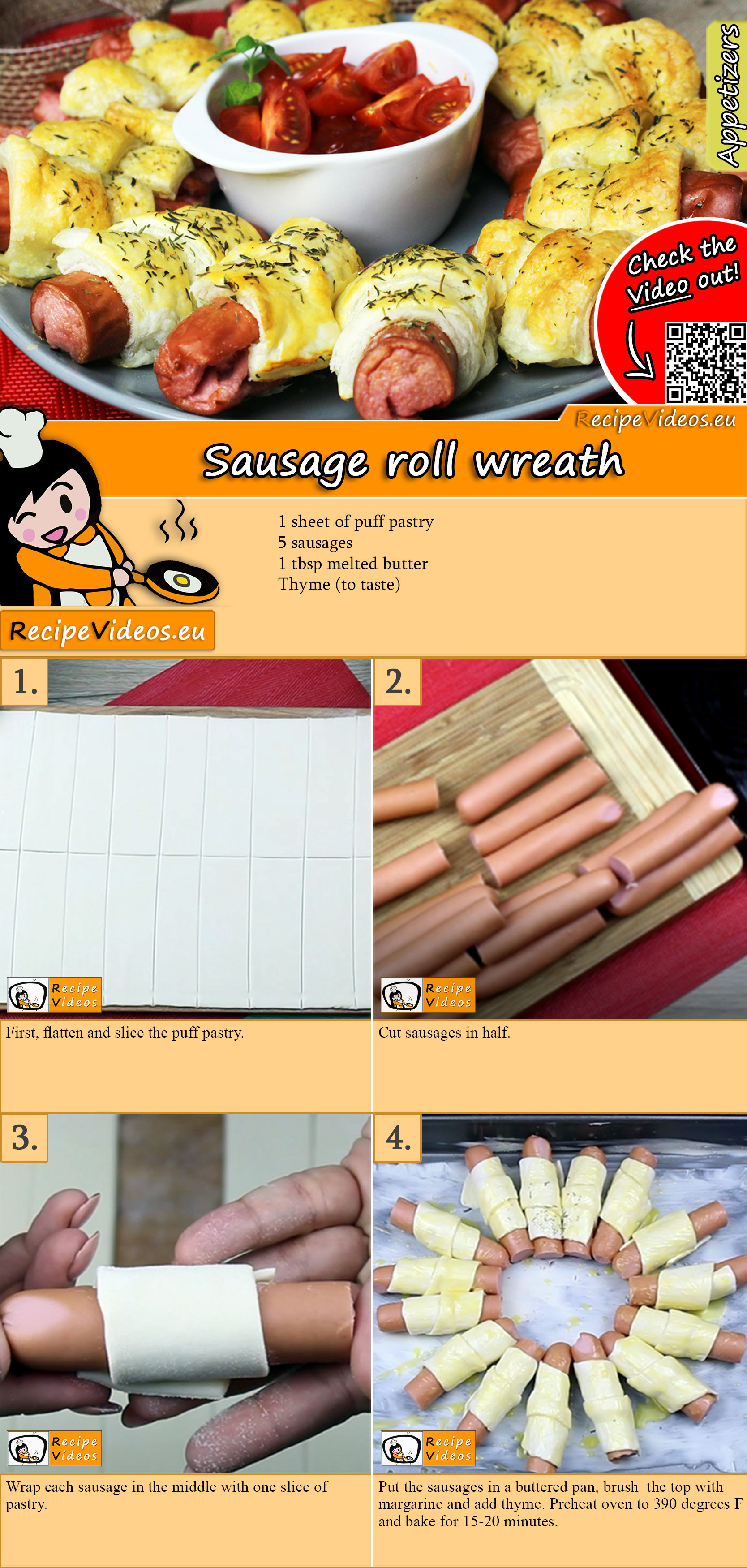 Sausage roll wreath recipe with video