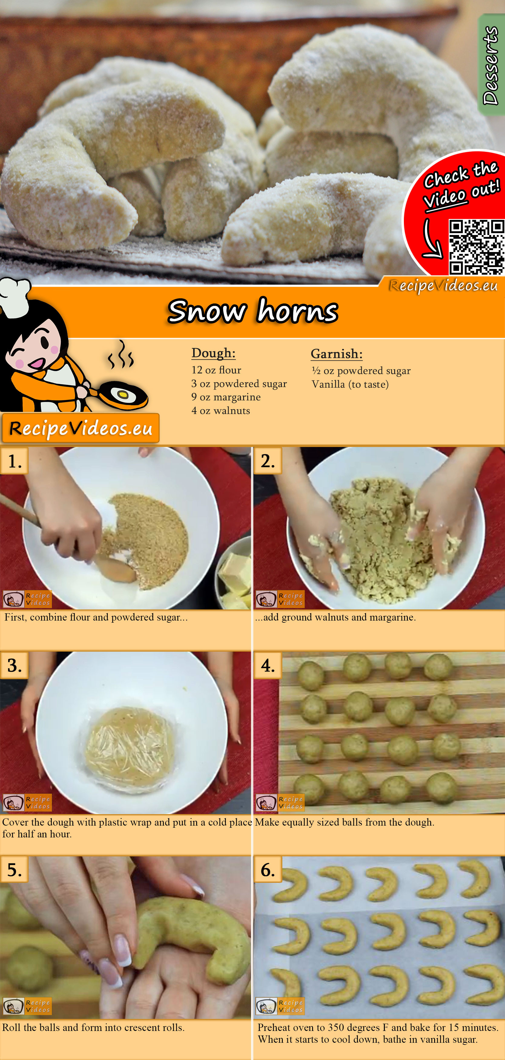 Snow horns recipe with video