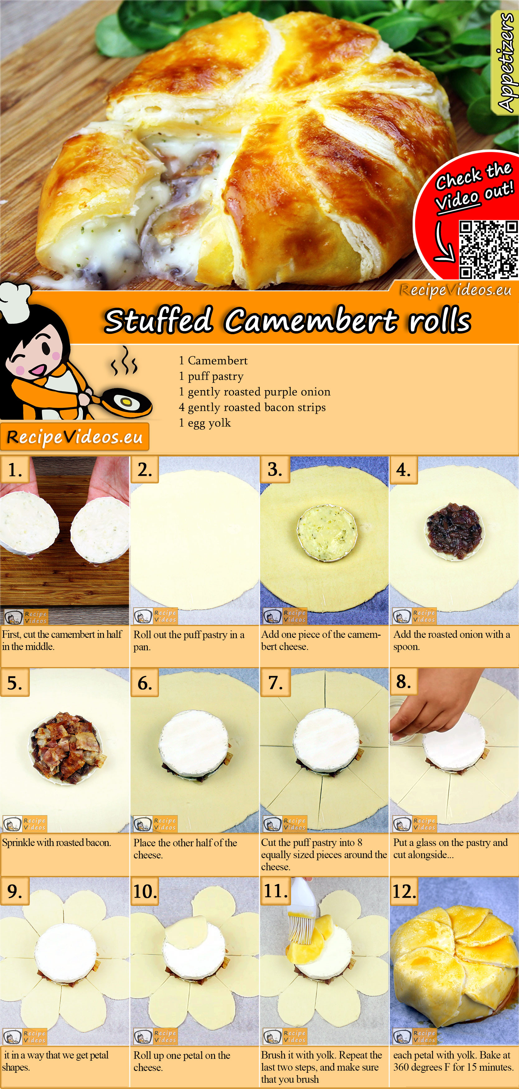 Stuffed Camembert rolls recipe with video