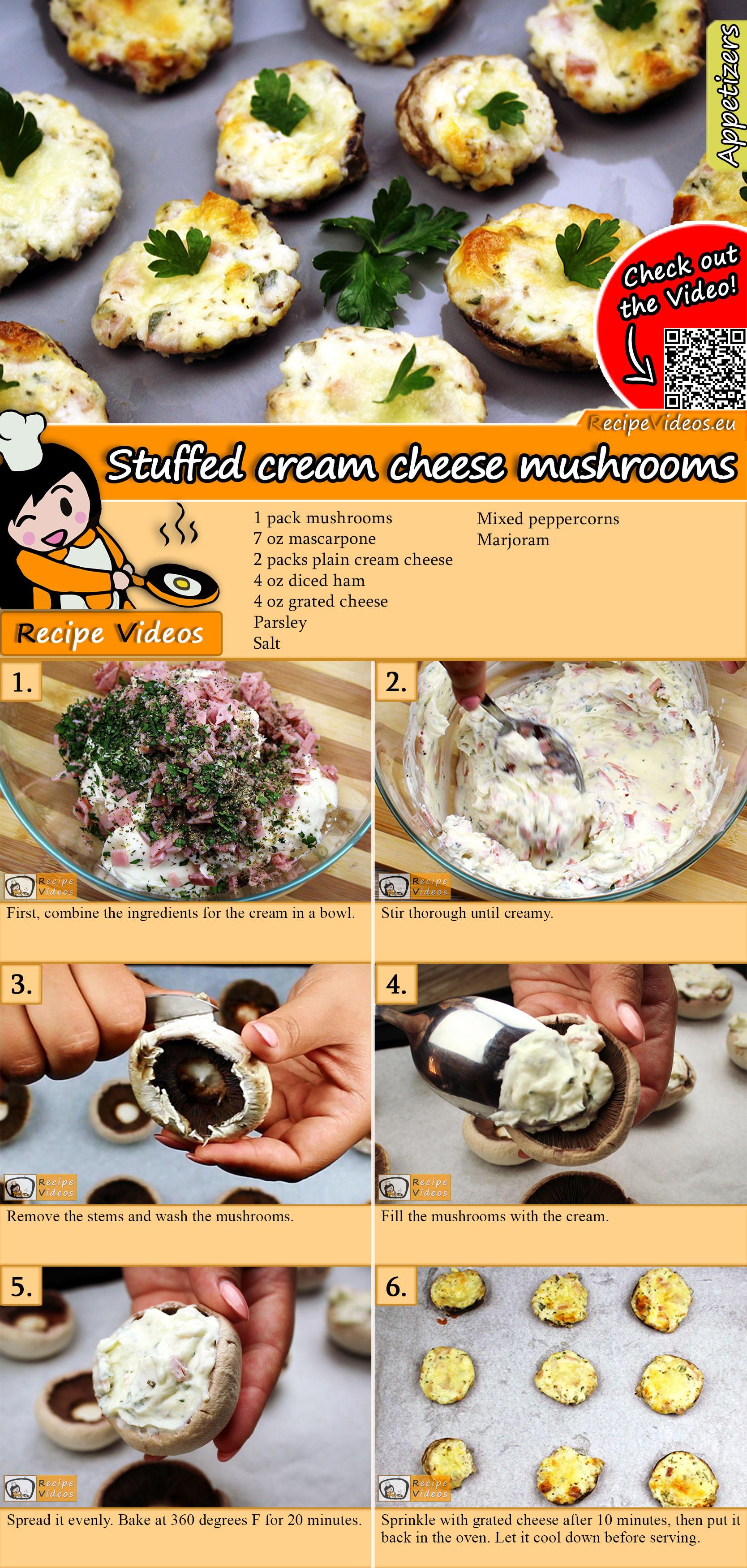 Stuffed cream cheese mushrooms recipe with video