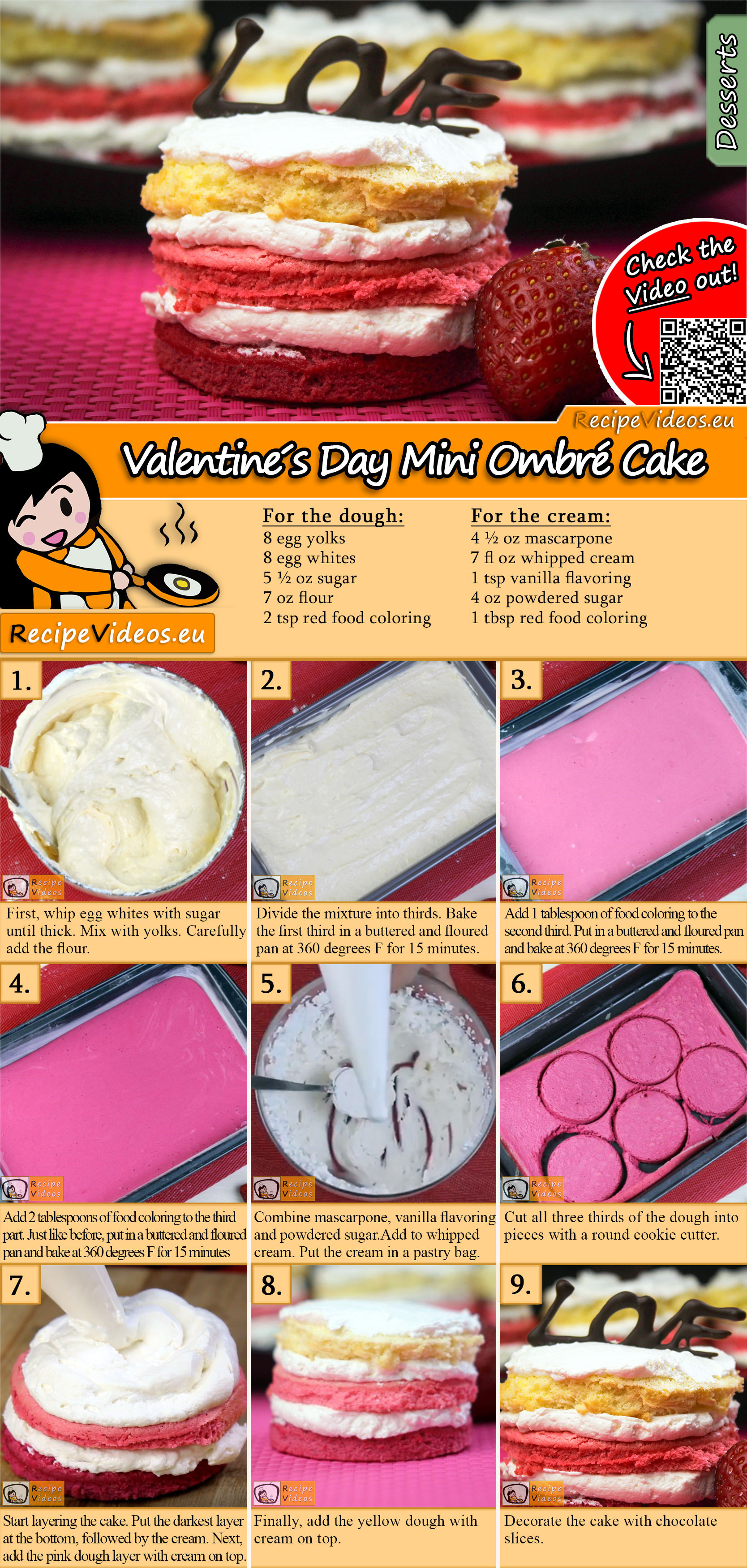 Valentine´s Day Mini Ombré Cake recipe with video