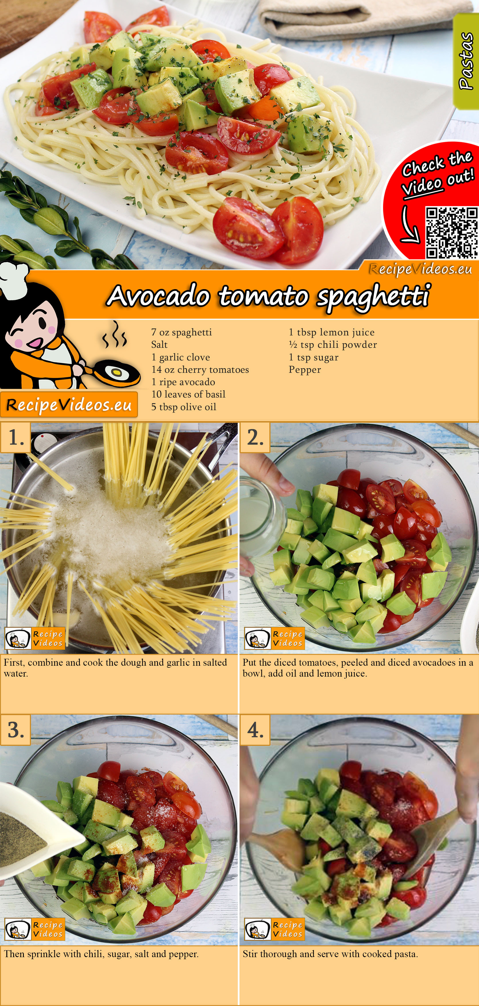Avocado tomato spaghetti recipe with video