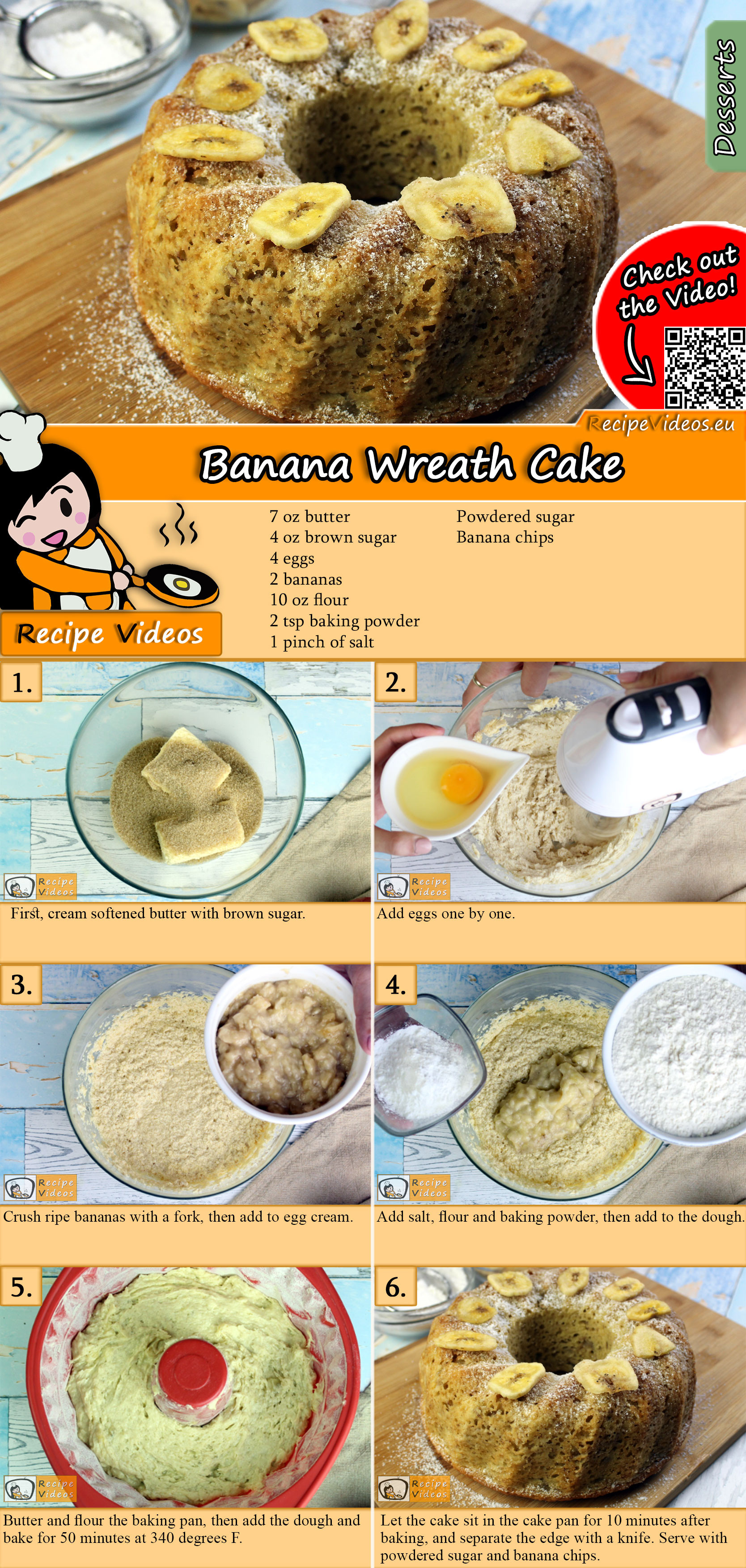 Banana wreath cake recipe with video