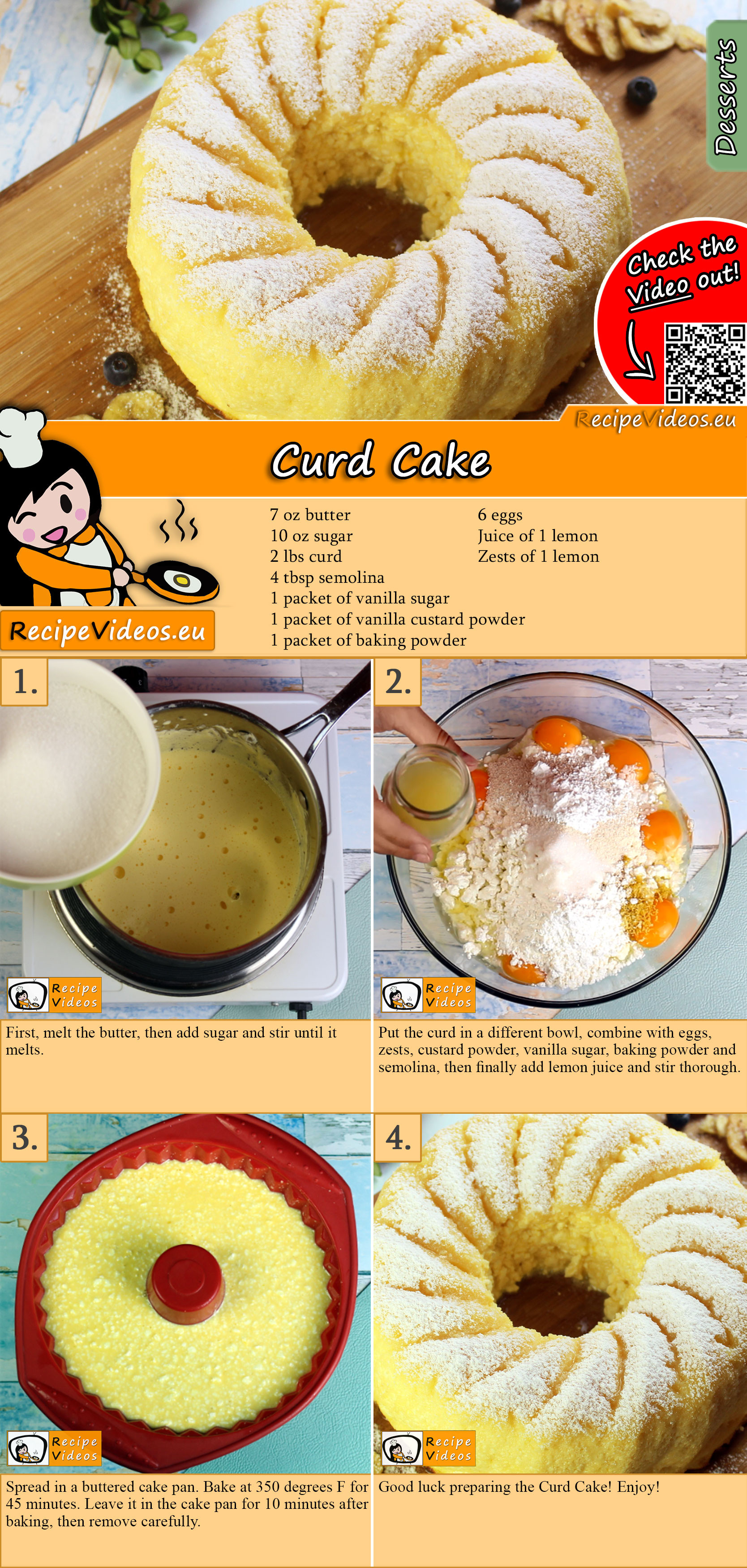 Curd Cake recipe with video