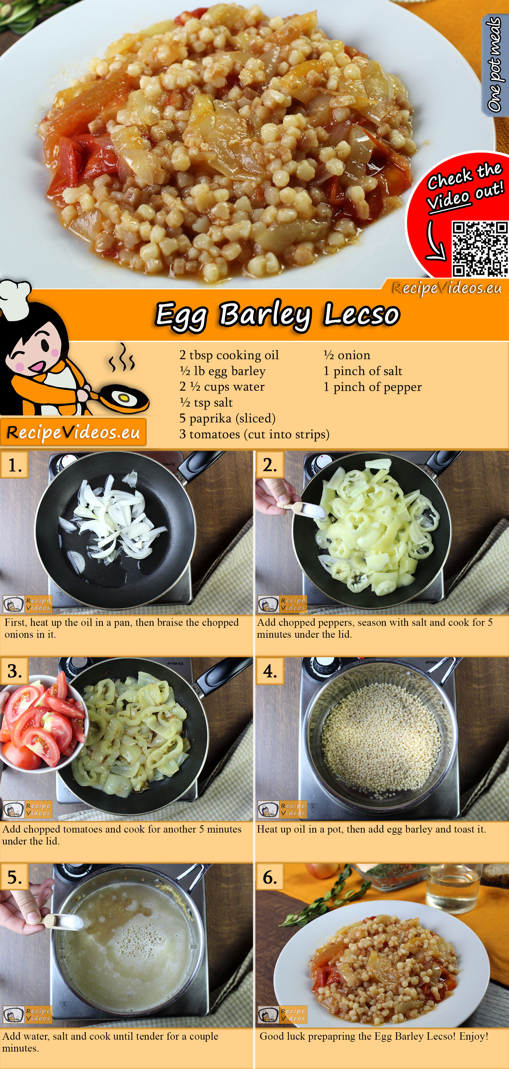 Egg Barley Lecso recipe with video