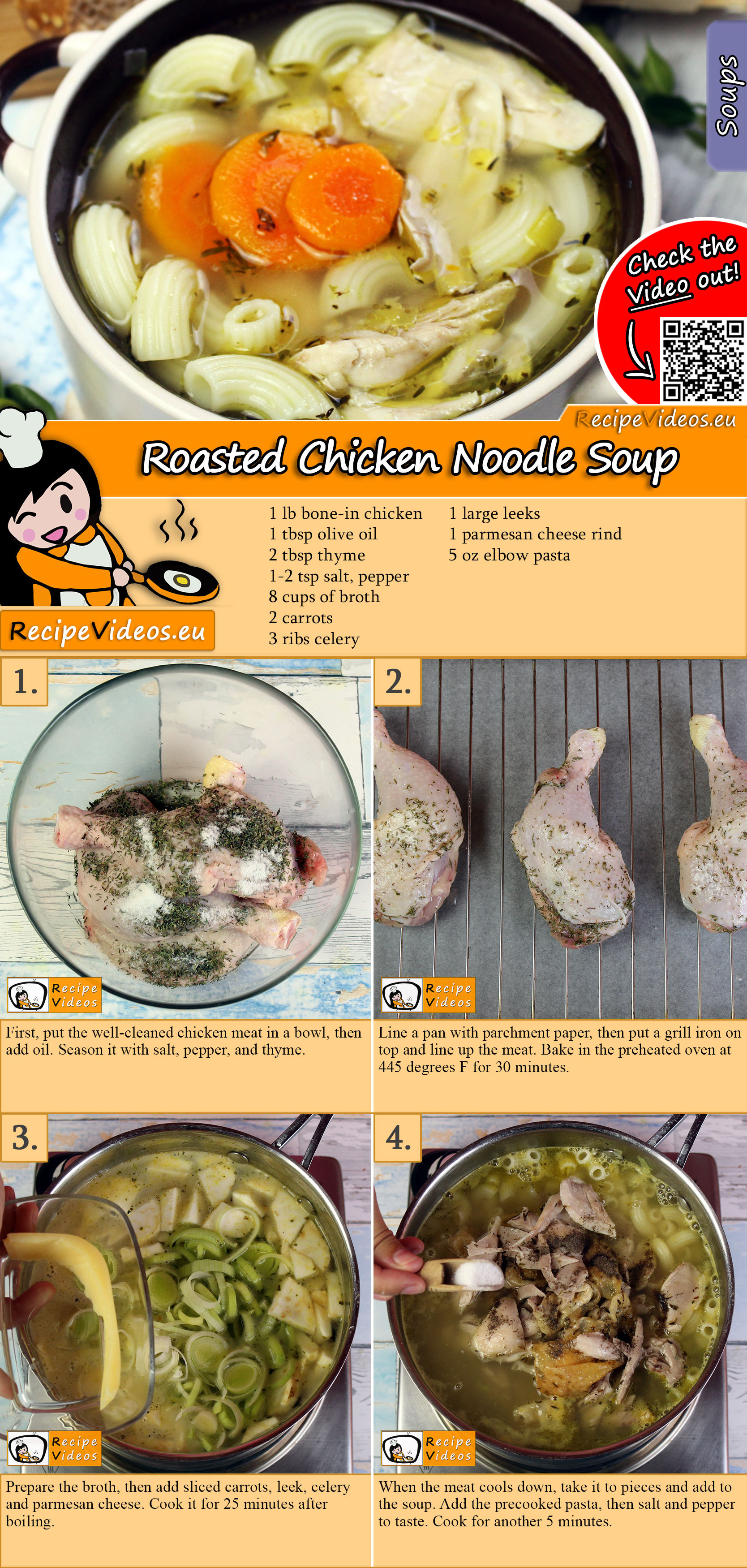 Roasted Chicken Noodle Soup recipe with video