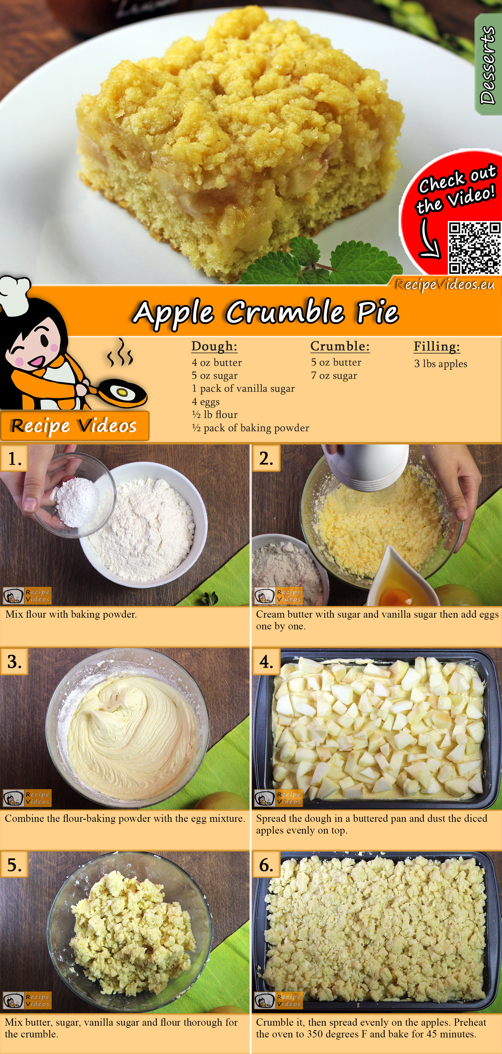 Apple Crumble Pie recipe with video