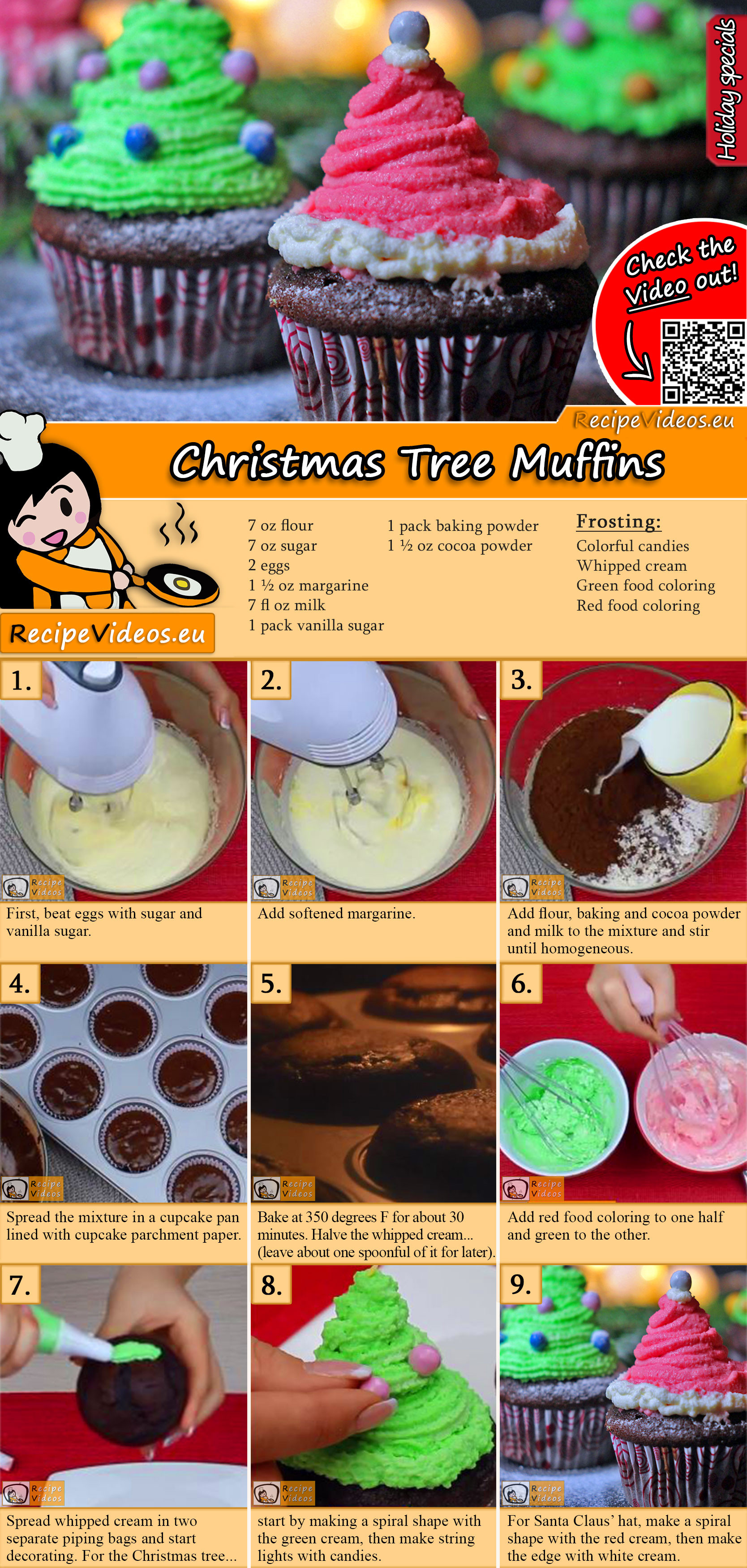 Christmas Tree Muffins recipe with video
