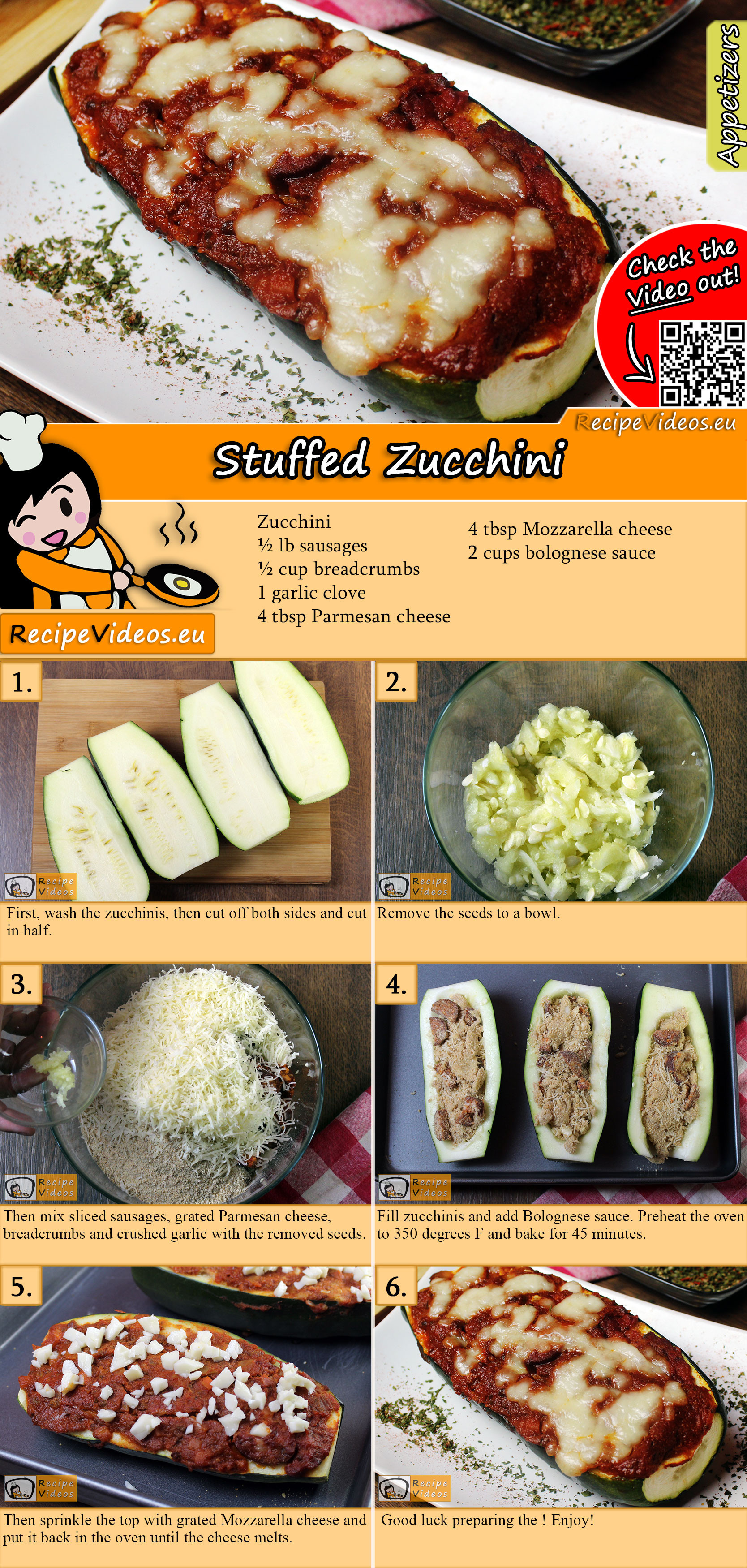 Stuffed zucchini recipe with video