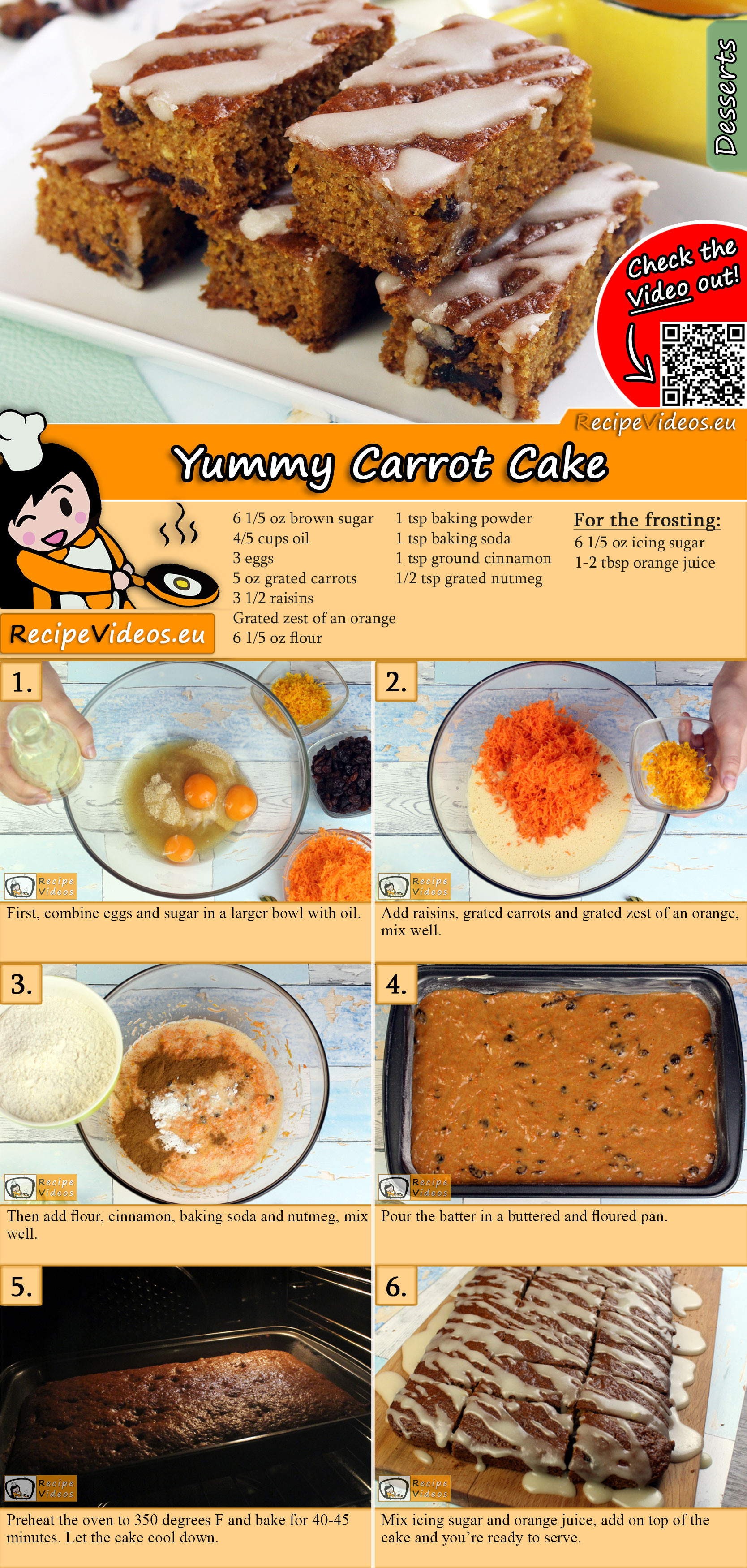 Yummy Carrot Cake recipe with video